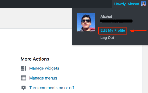 Edit My Profile option from the WordPress Admin Bar