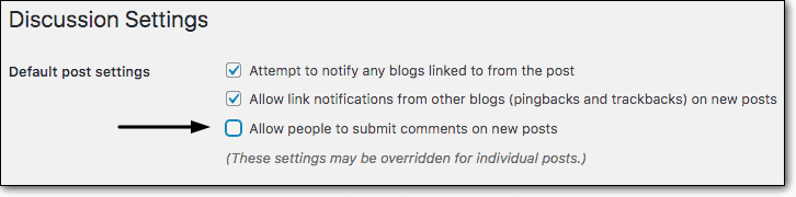 Disabling comments on new posts