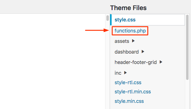 Locating the functions.php file in Theme Editor