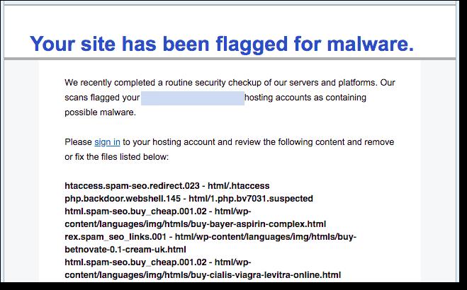 GoDaddy Host Suspension Email Alert