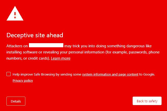 Google Blacklisting Warning