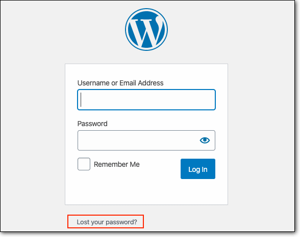Lost Password on WordPress