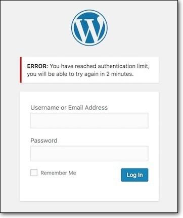 Reached the limit on WordPress Login