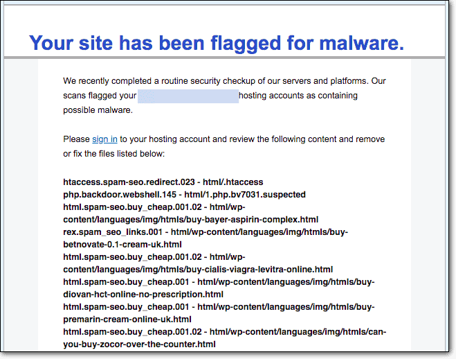 web host email site flagged for malware