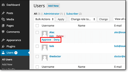 Enable Manual Approval of Newly Registered Users