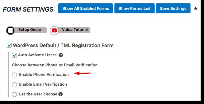 enable phone verification