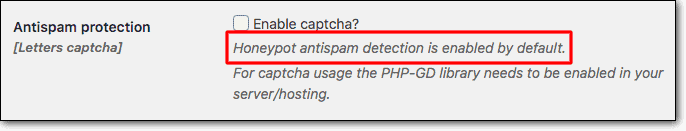 Install Clean Login to enable honeypot antispam protection