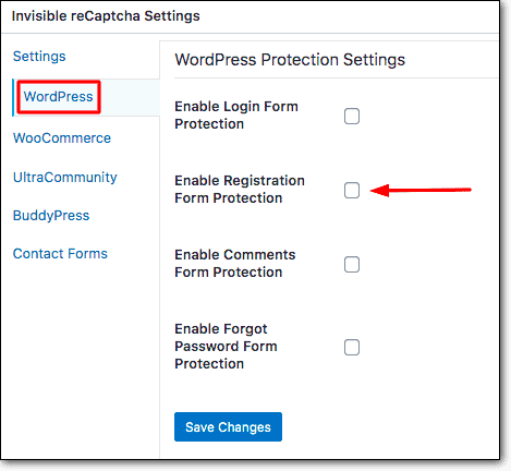 invisible recaptcha settings