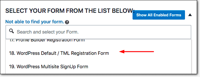 tml registration form