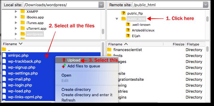 upload wordpress core file