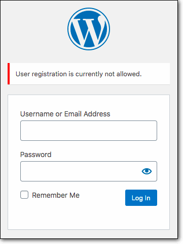 "The login screen would say ""User Registration not allowed"""