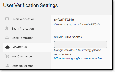 user verification settings