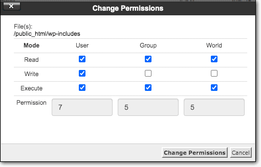 change permission file manager
