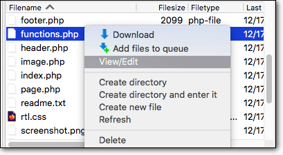 functions.php file view or edit