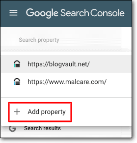 google search console ad property