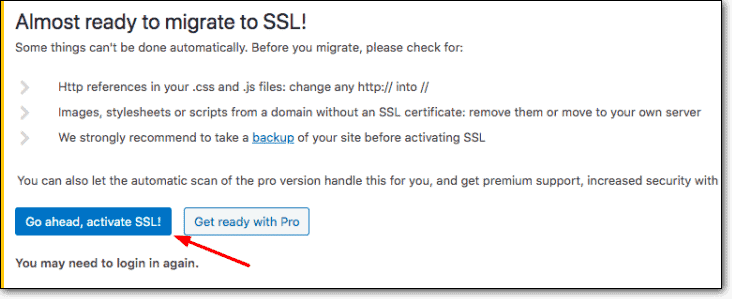 really simple ssl activate button