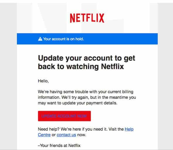 Netflix phishing site