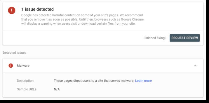 google search console malware