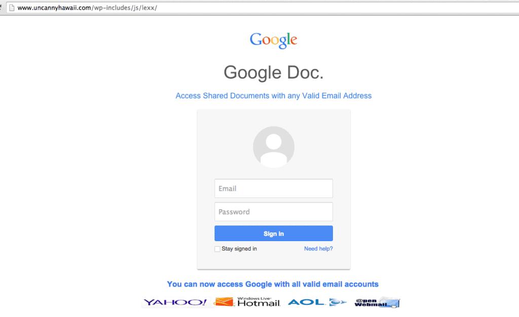 Google phishing site