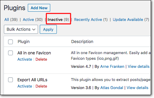 plugins inactive