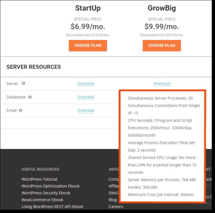 siteground server resources