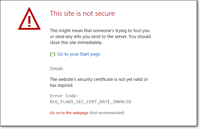 this site is not secure error