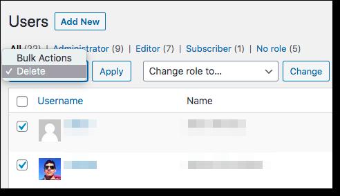 wordpress user delete