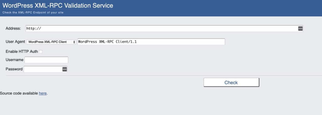 XML-RPC Validation Service
