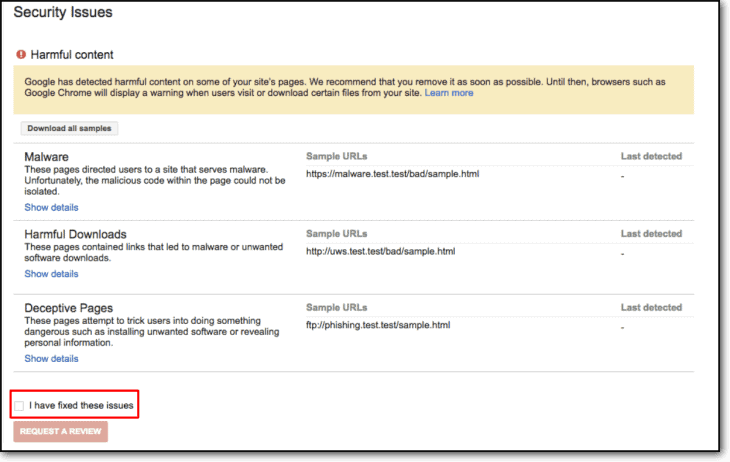 google console security issues