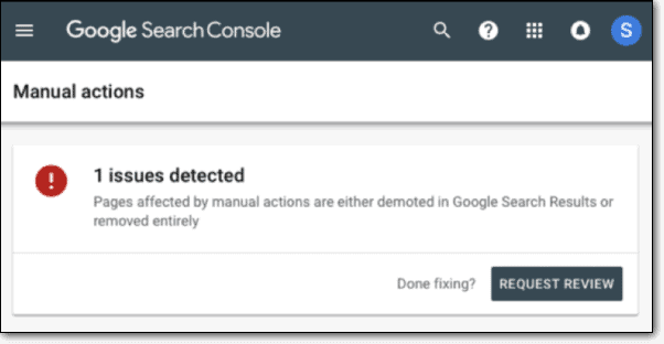 google search console issues detected