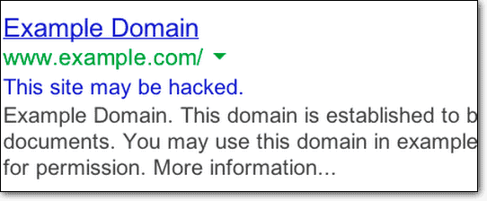 this site may be hacked warning due to WordPress spam link injection attack