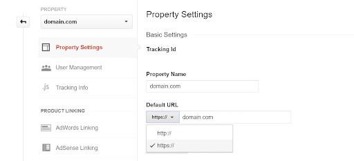 updating google analytics property default url to https version