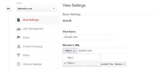 updating google analytics view default url to https version