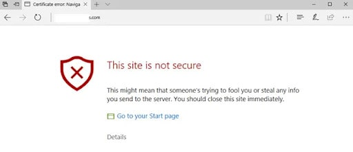 your connection to this site is not fully secure warning in browser