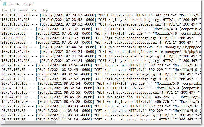 List of IP addresses that have made request to website