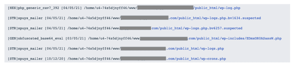List of hacked files received from web host